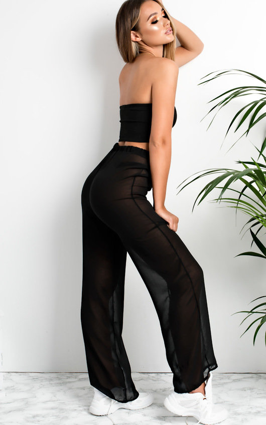 Lianna Sheer Wide Leg Trousers