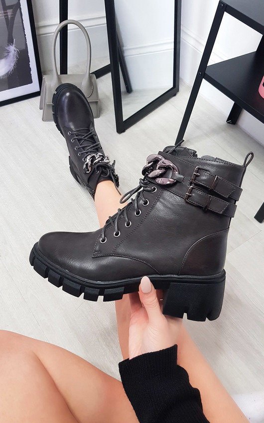 Libby Chain Detail Chunky Lace Up Boots