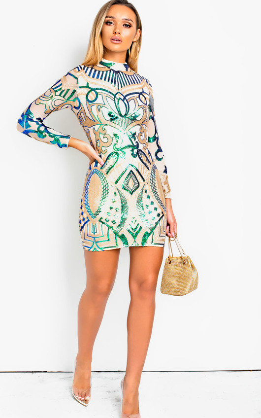 Libra Sequin Embellished Bodycon Dress
