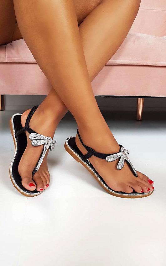 Liliana Diamante Embellished T-Bar Sandals