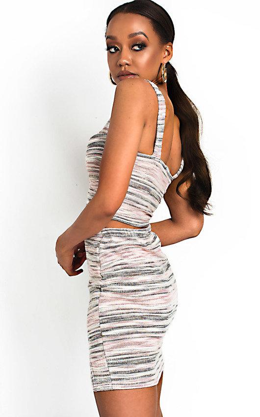 f84e737843 Lilla Tweed Crop Top & Skirt Co-Ord in Pink | ikrush