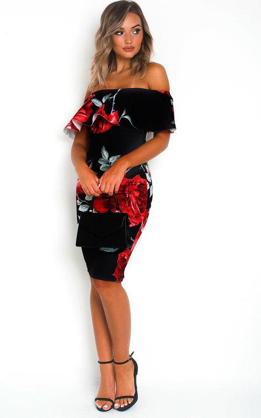 Lilly Floral Bardot Bodycon Dress