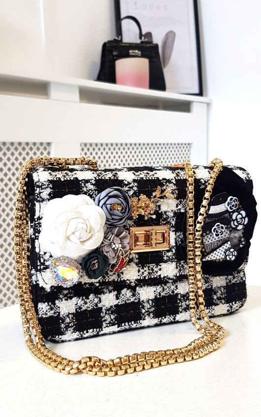 Lilly Flower Embellished Tweed Shoulder Bag