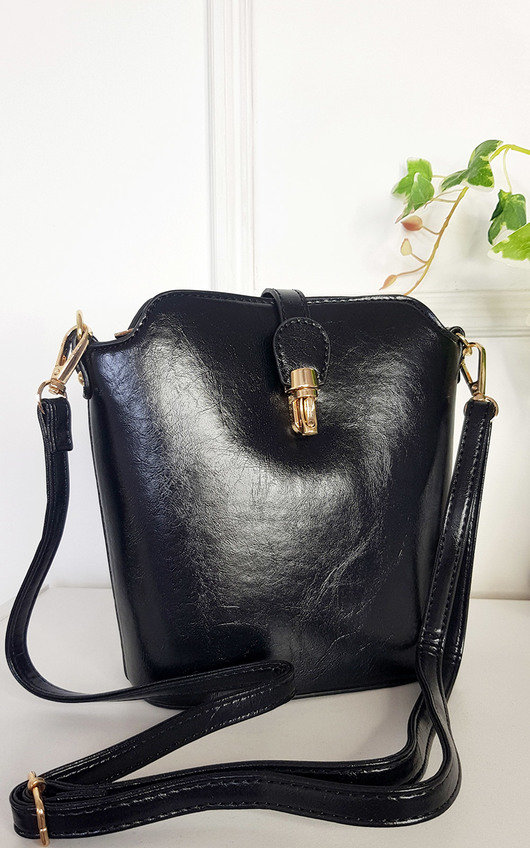 Lily Faux Leather Crossbody Bag with Gold Detail and Adjustable Strap