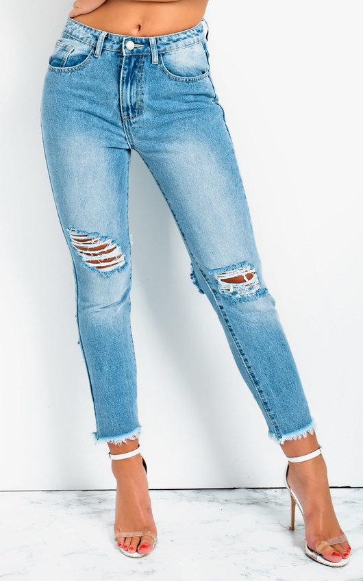 Lily Ripped Skinny Fit Crop Jeans