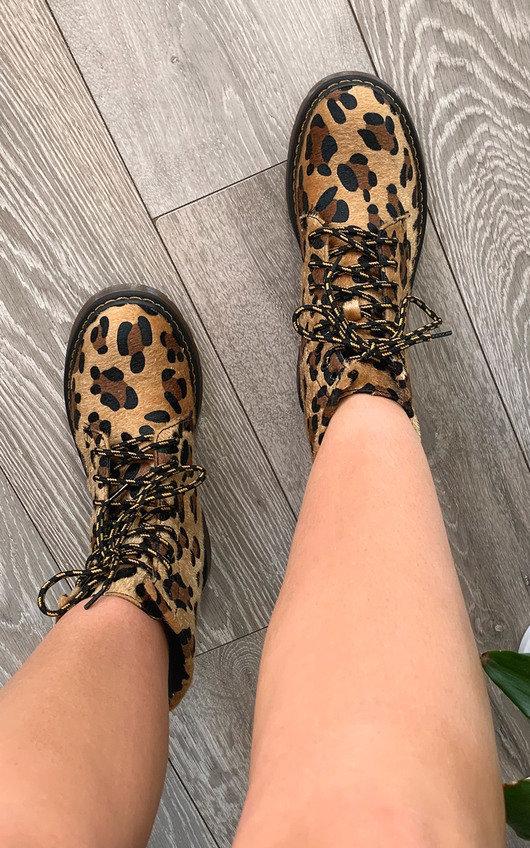 Lina Faux Suede Leopard Boots