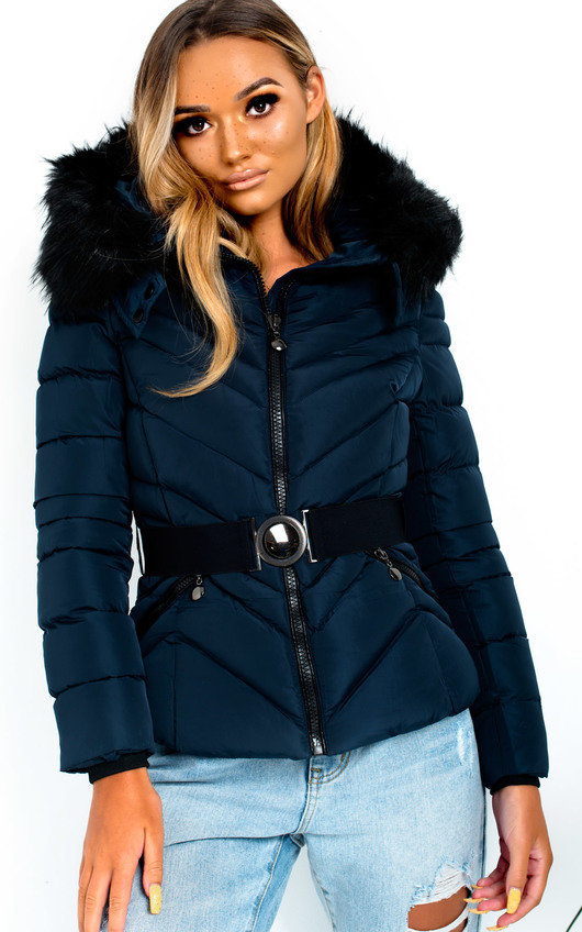 Lina Padded Faux Fur Hood Belted Jacket