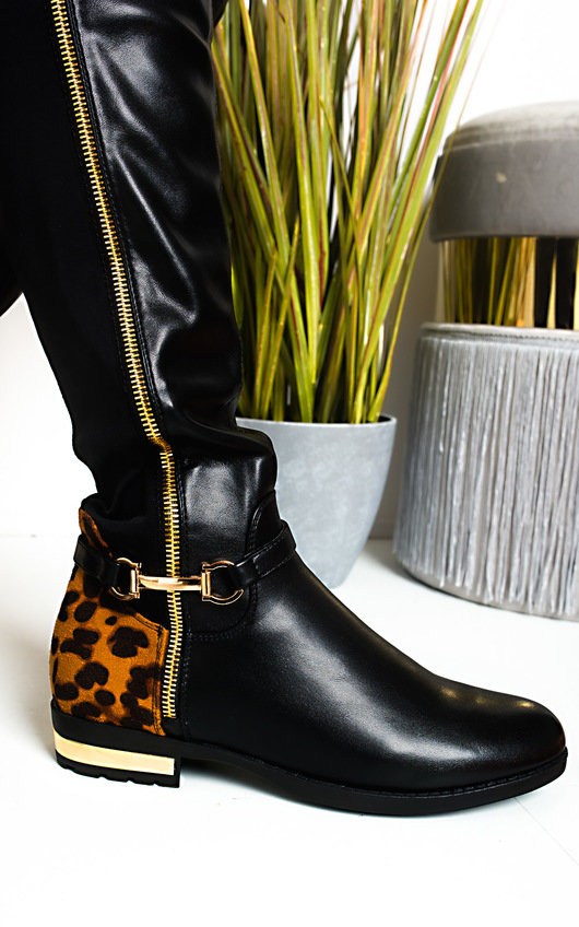 Linsey Faux Leather Knee High Buckle Boots