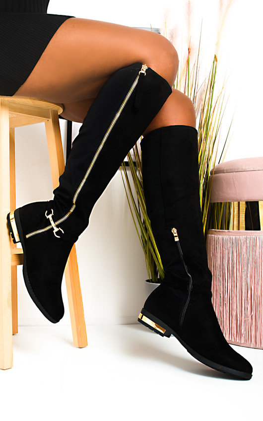 Linsey Faux Suede Knee High Buckle Boots