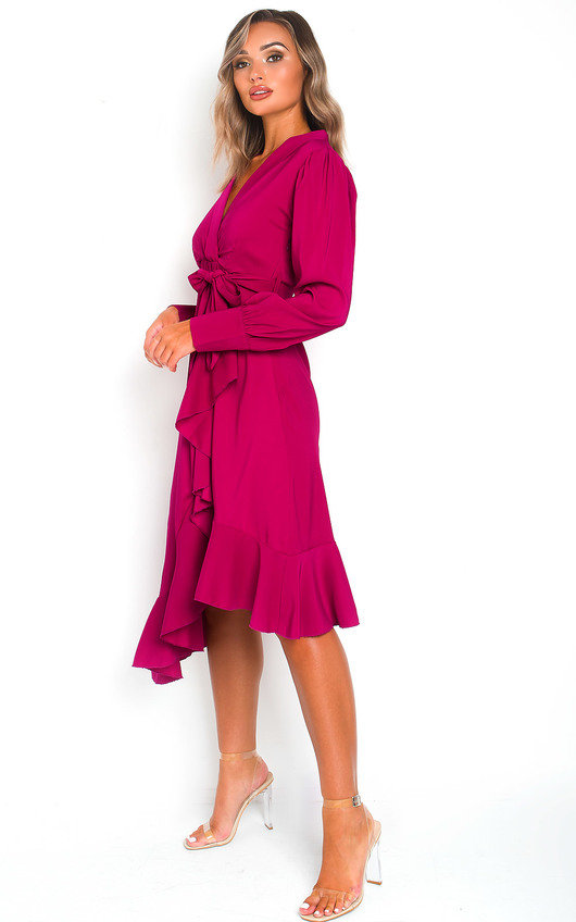 Lis Block Colour Frill Midi Dress
