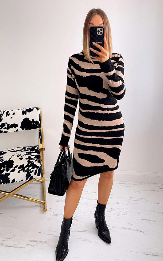 Lisa High Neck Printed Dress