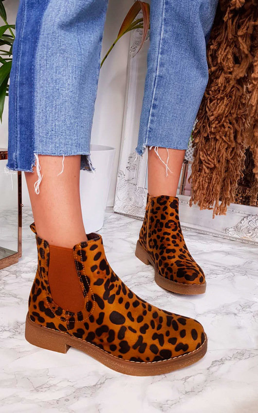 Lisa Leopard Print Ankle Boots