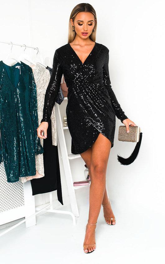Lisa Sequin Embellished Wrap Dress