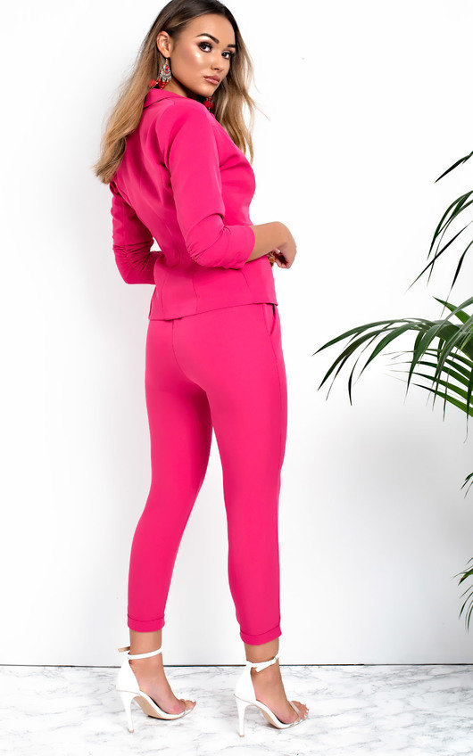 61bad0776e06 Lisa Tailored Blazer And Cropped Trouser Co-ord in Pink | ikrush