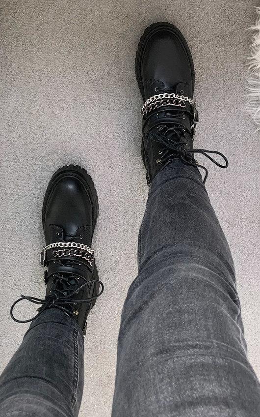 Lissie Chain Buckle Biker Boots