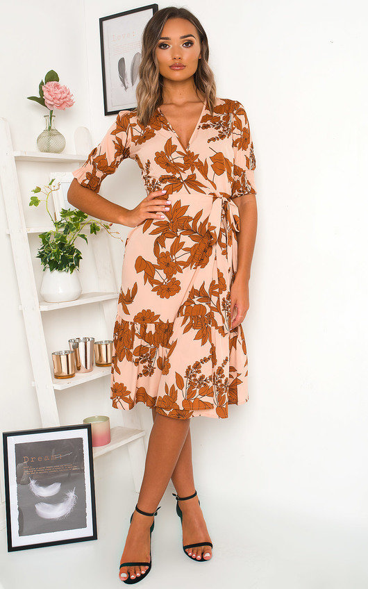 Liv Printed Frill Midi Dress