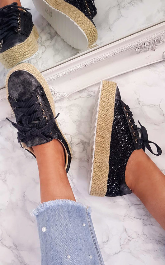 Liv Sequin Espadrille Lace Up Trainer