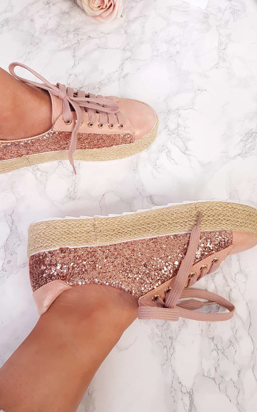 Liv Sequin Espadrille Lace Up Trainer in Champagne