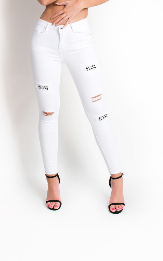 Liya Ripped Embellished Skinny Jeans