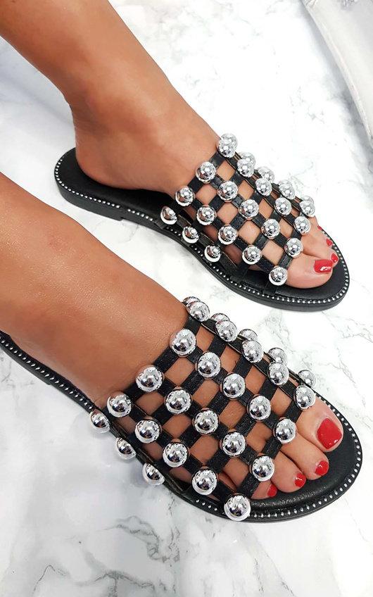 5dda5af4be8 Liza Studded Caged Open Toe Sandals in Black