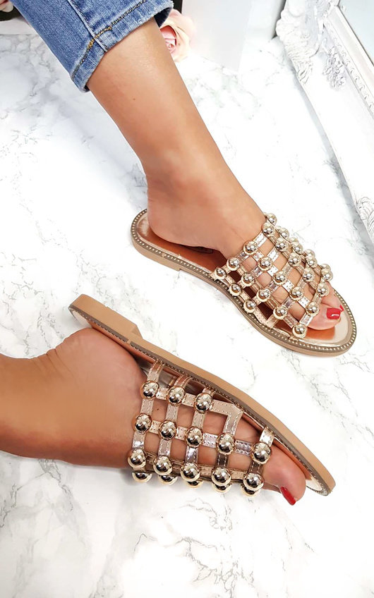 Liza Studded Caged Open Toe Sandals