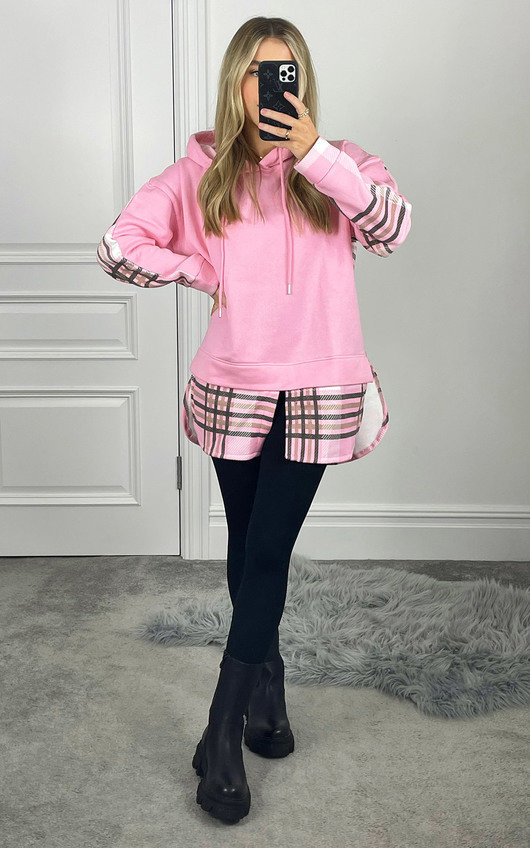 Lizzie Checked Hooded Jumper