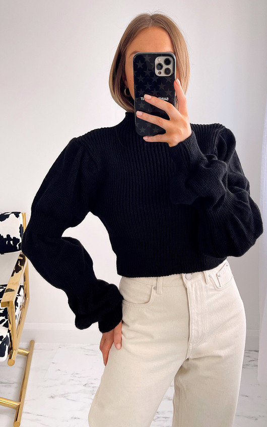 Lizzo Puff Sleeve Knitted Jumper