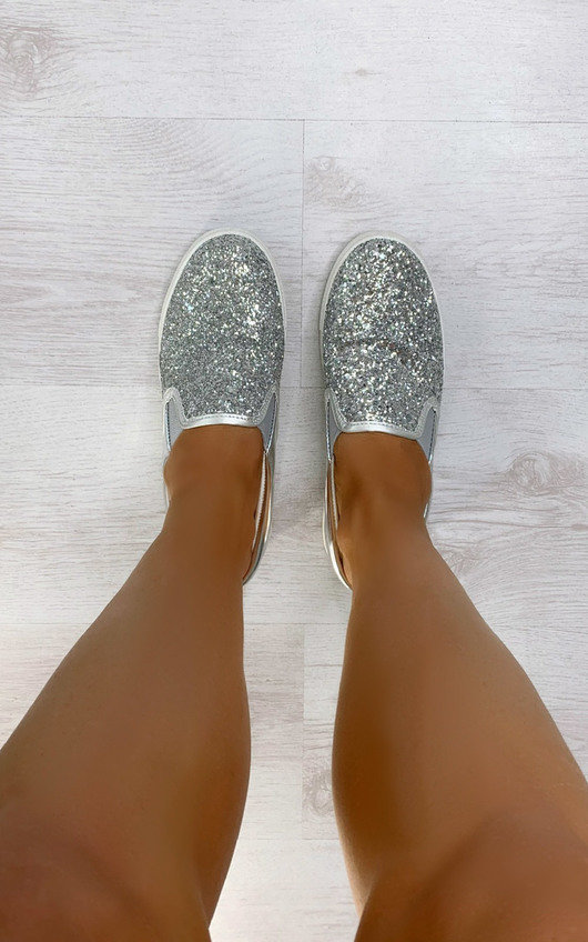 Lizzy Glitter Slip On Trainers