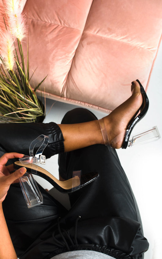 Lois Barely There Clear Block Heels
