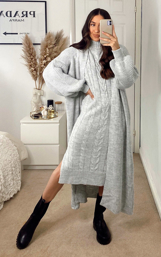 Lois Knitted Cardigan and Dress Co-ord