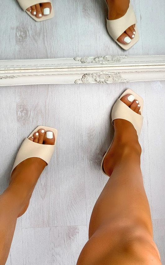 Lola Asymmetrical Mule Heels
