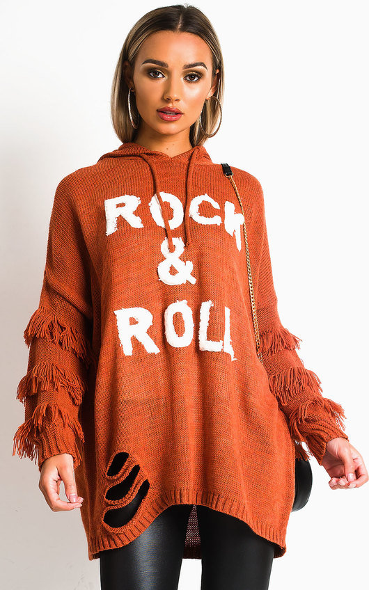 Lola Chunky Knitted Tassel Slogan Jumper
