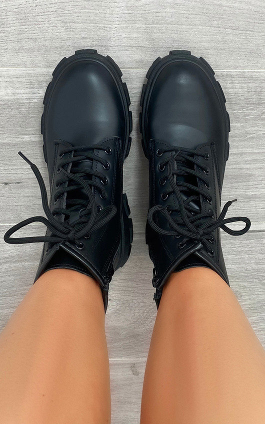 Lola Faux Leather Biker Boots