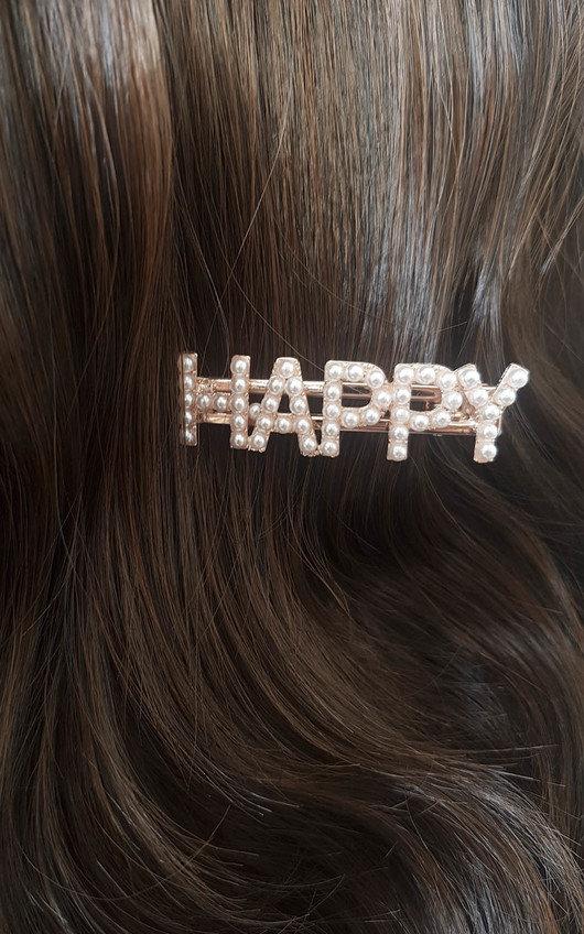Lola Slogan Pearl Detail Hair Clip