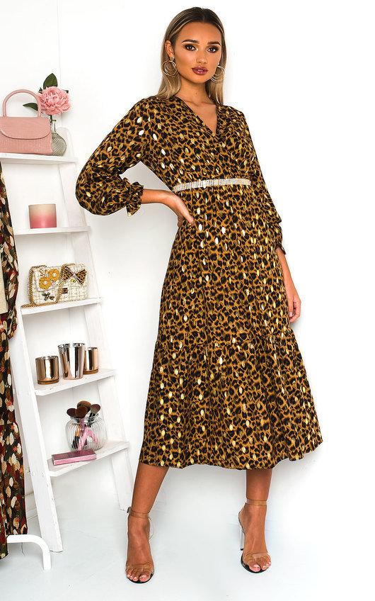 Lora Printed Frill Maxi Dress