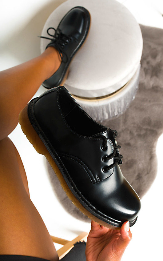 Loren Faux Leather Brogue Flats