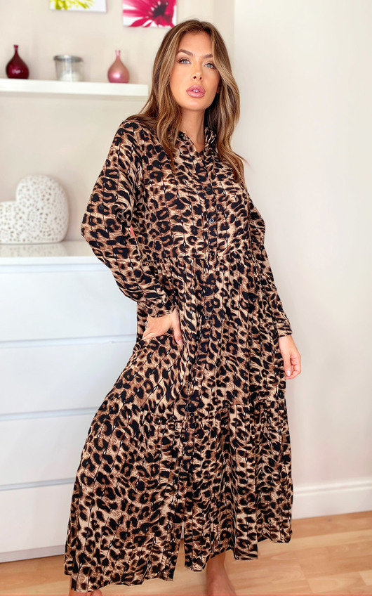 Loren Leopard Print Maxi Shirt Dress