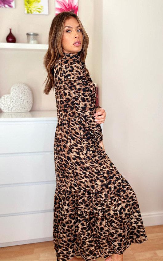 Loren Leopard Print Maxi Shirt Dress