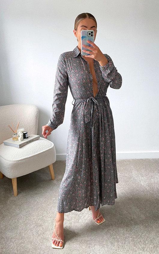 Loren Printed Maxi Shirt Dress