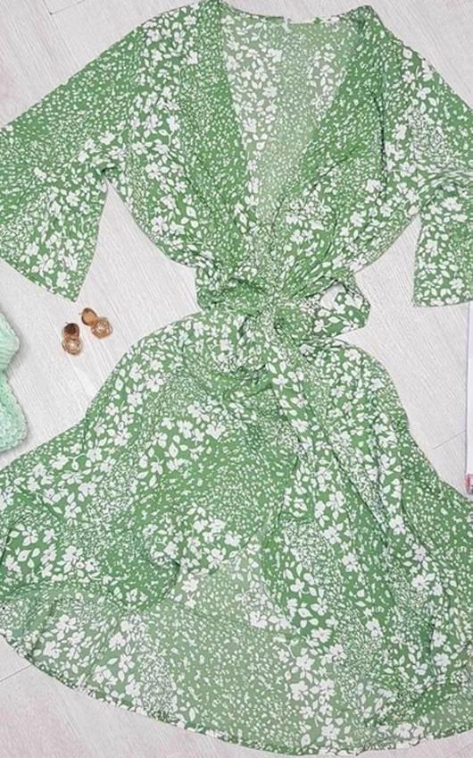 Lorena Patterned Frill Mini Dress