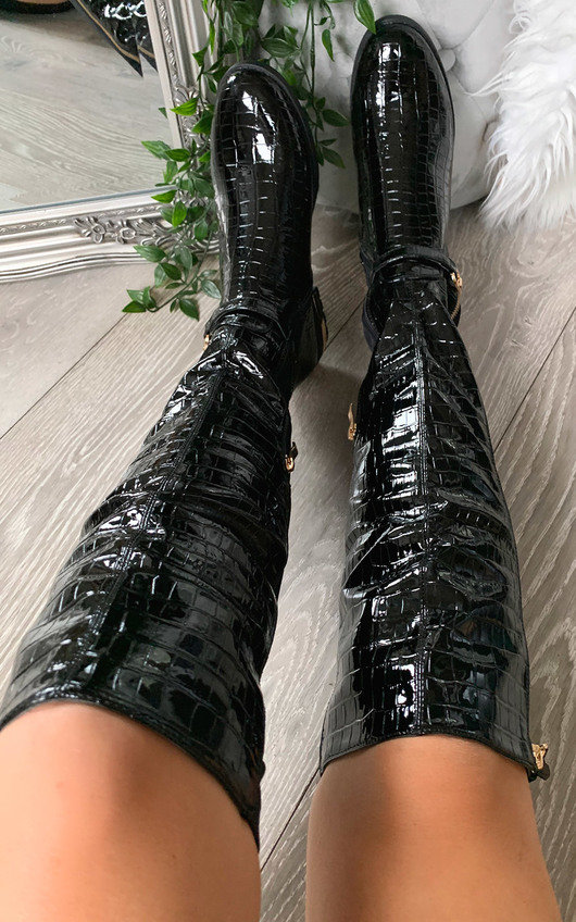Lorna Faux Leather Croc Print Knee High Boots