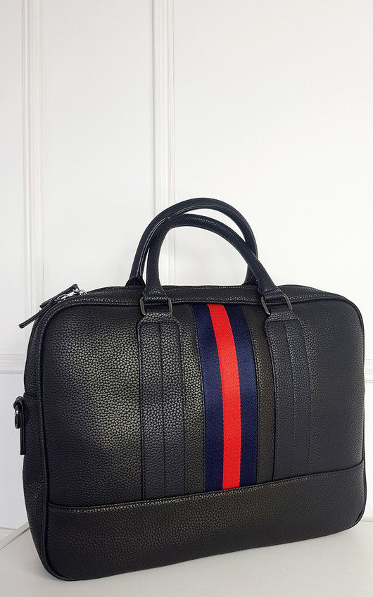 Lorraine Faux Leather Bowler Bag with Navy and Red Stripe Detail