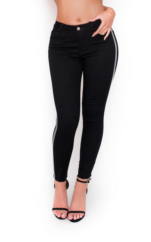 Lottie Striped Mid Rise Skinny Jeans