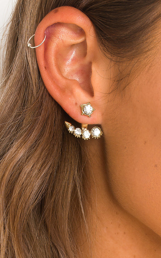 Louisa Pearl & Diamante Odd Stud Earrings