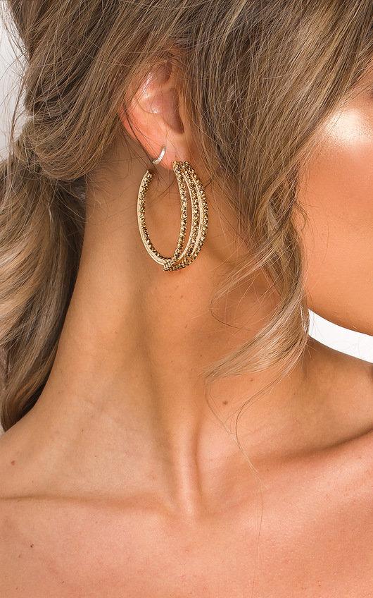 Lovisa Triple Band Diamante Hoop Earrings