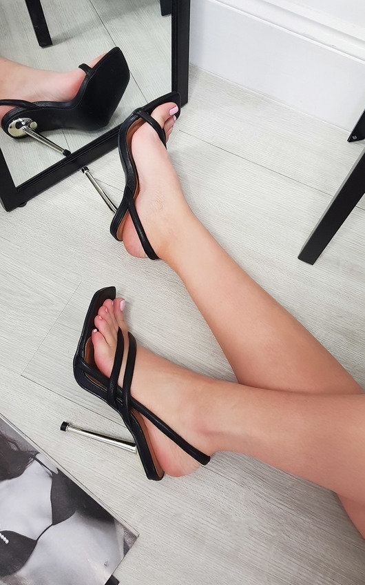 Lucinda Faux Leather Strappy High Heels