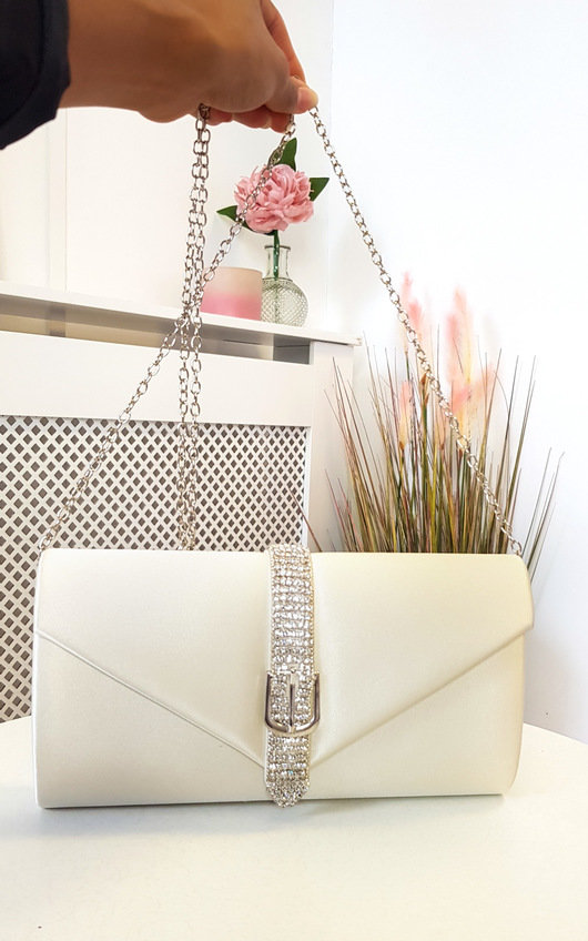 Lucy Satin Diamante Embellished Clutch Bag