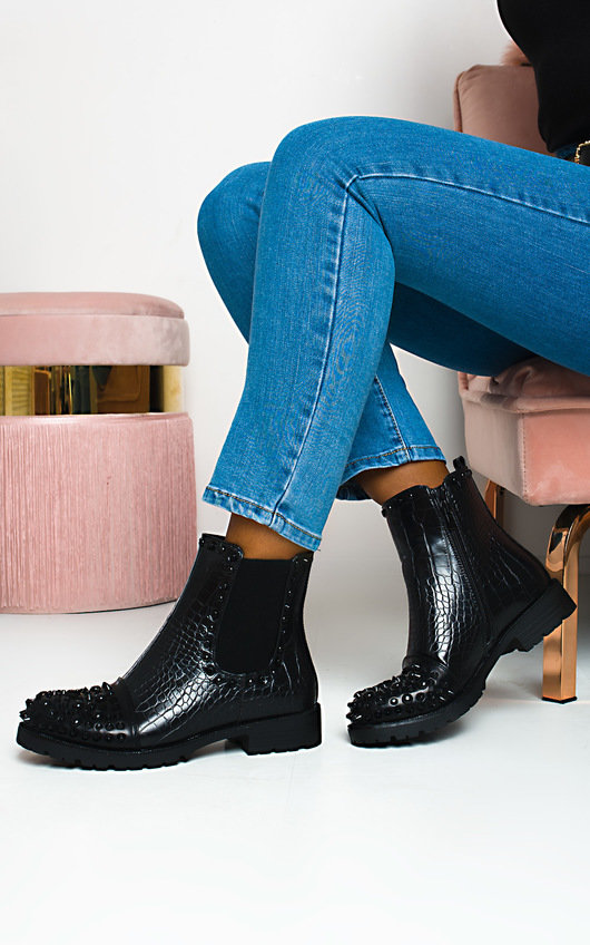 Lullah Croc Print Studded Ankle Boots