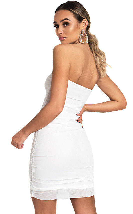 babbd7d31ad1 Luna Ruched Mesh Bodycon Dress in White | ikrush