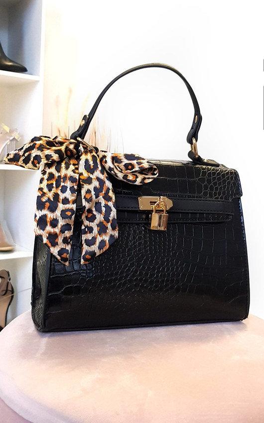 Lyana Croc Print Handbag